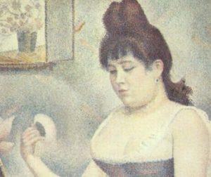 georges seurat eserleri kendini pudralayan kadın