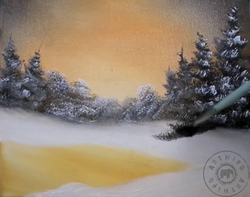 Yağlıboya Kar Manzarası Nasıl Yapılır Kar Resmi Nasıl