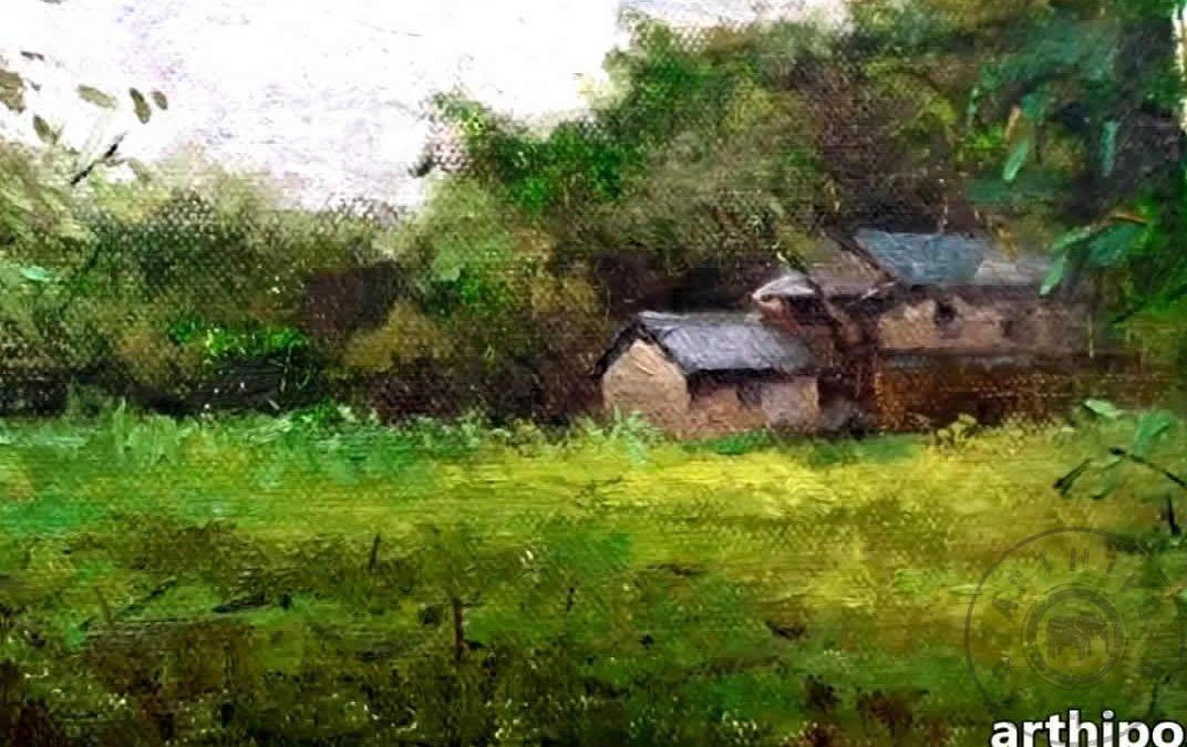 Bir Ev Resmi çizimi Yağlıboya Köy Evi Resmi Nasıl Yapılır Resim