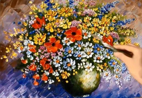 Akrilik Boya Çiçek Çizimi. Akrilik Boya Resim Nasıl Yapılır?