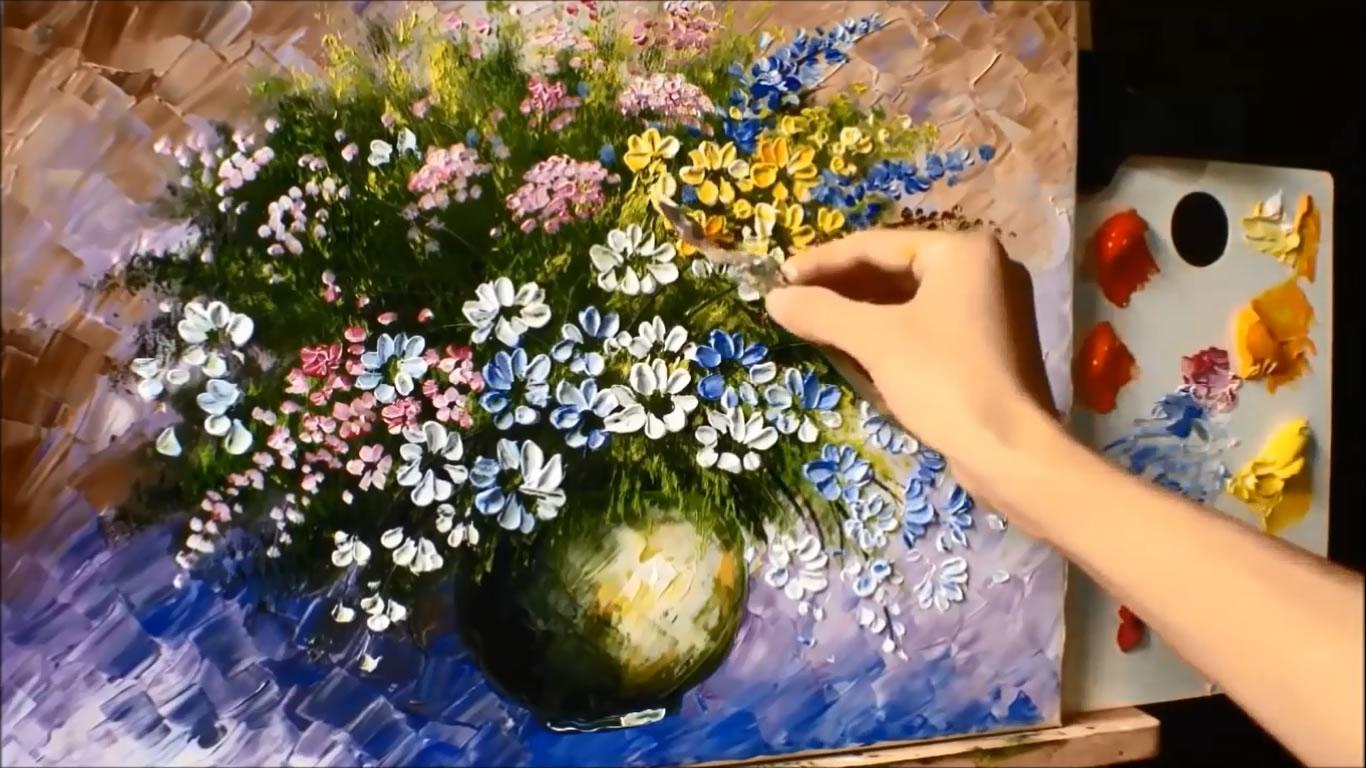 Akrilik Boya çiçek çizim Teknikleri Resim Galerisi