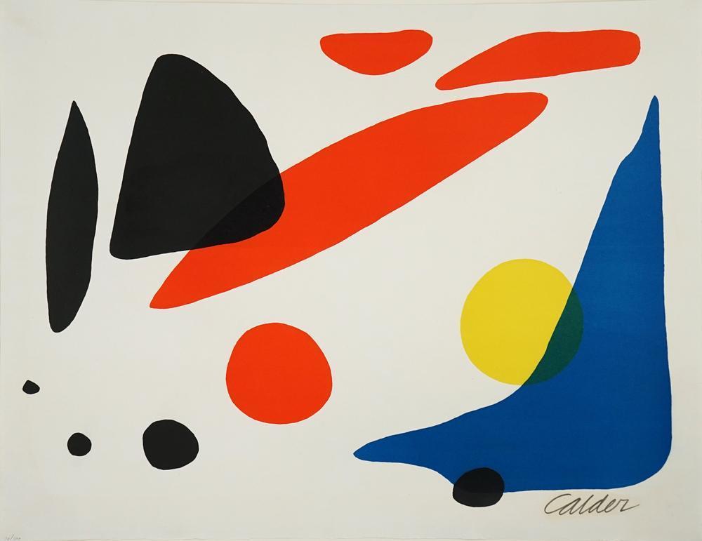 Alexander Calder Kırmızı Siyah Ve Sarı Şekilli Mavi Bumerang, Kanvas Tablo, Alexander Calder