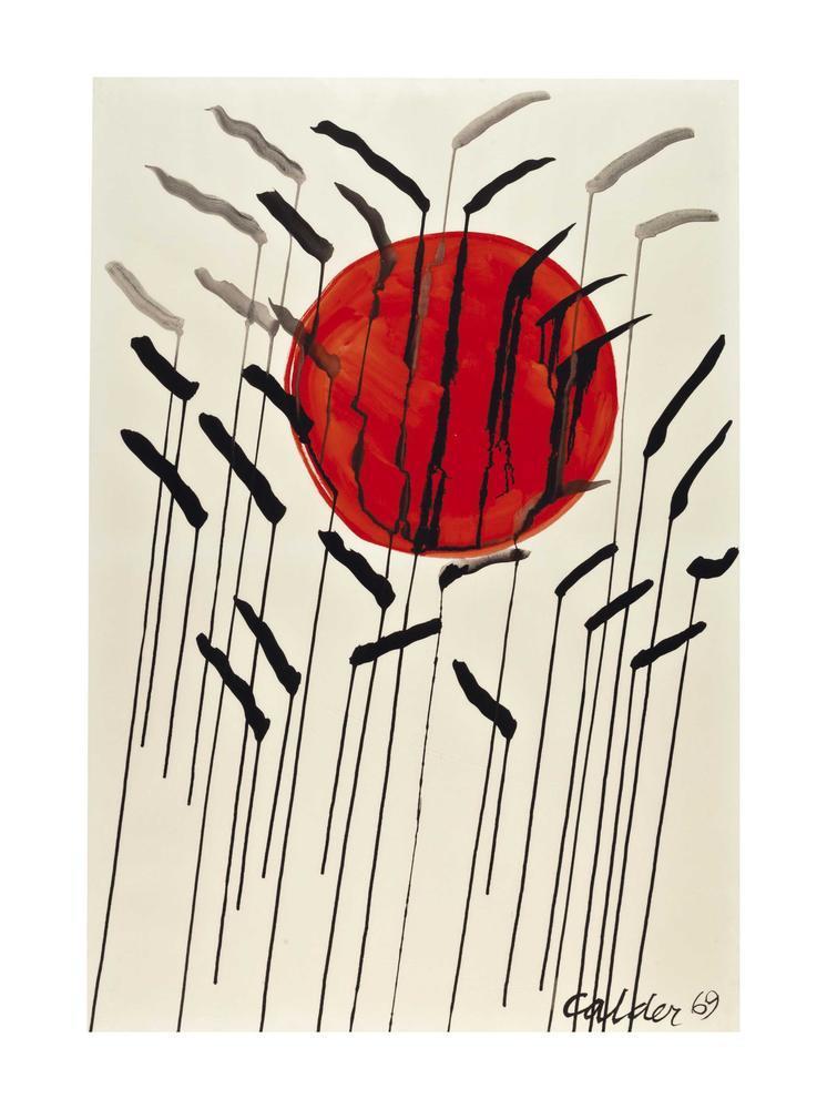 Alexander Calder Kırmızı Güneş İle Kedi Kuyrukları, Kanvas Tablo, Alexander Calder