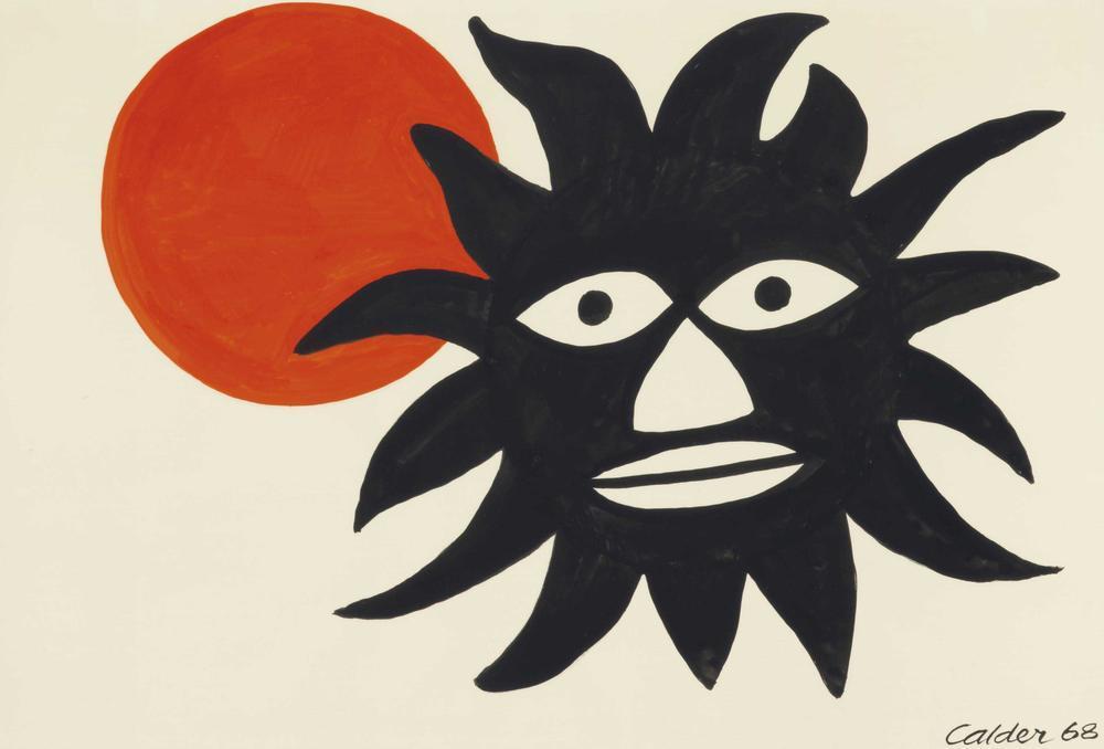 Alexander Calder Güneş İle Büyük Siyah Yüz, Kanvas Tablo, Alexander Calder, kanvas tablo, canvas print sales