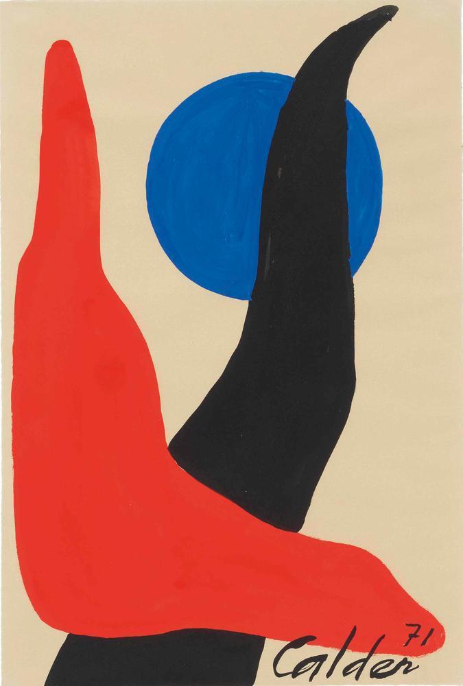Alexander Calder Kırmızı Bumerang Mavi Küre, Kanvas Tablo, Alexander Calder