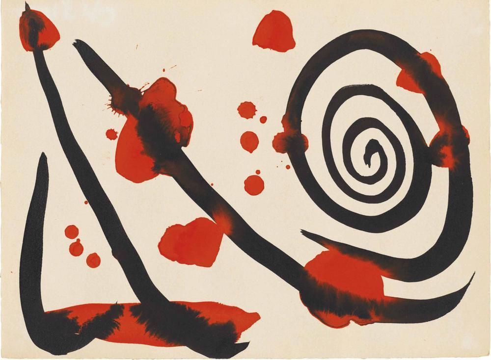 Alexander Calder Spiral Ve Kırmızı Lekeler, Kanvas Tablo, Alexander Calder