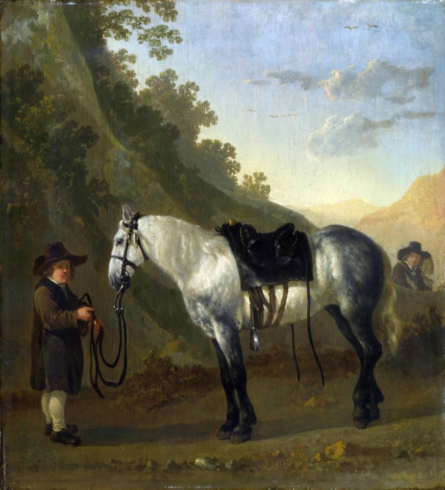 Abraham van Calraet, Gri Atı Tutan Bir Çocuk, Kanvas Tablo, Abraham van Calraet, kanvas tablo, canvas print sales