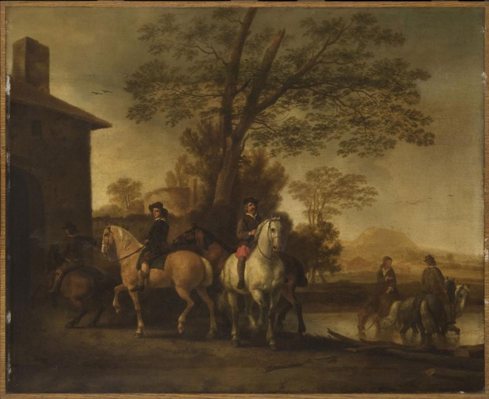 Abraham van Calraet, Horsemen Watering their Horses, Canvas, Abraham van Calraet, kanvas tablo, canvas print sales