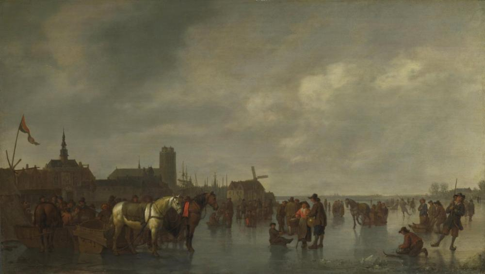 Abraham van Calraet, Scene on the Ice Outside Dordrecht, Canvas, Abraham van Calraet, kanvas tablo, canvas print sales