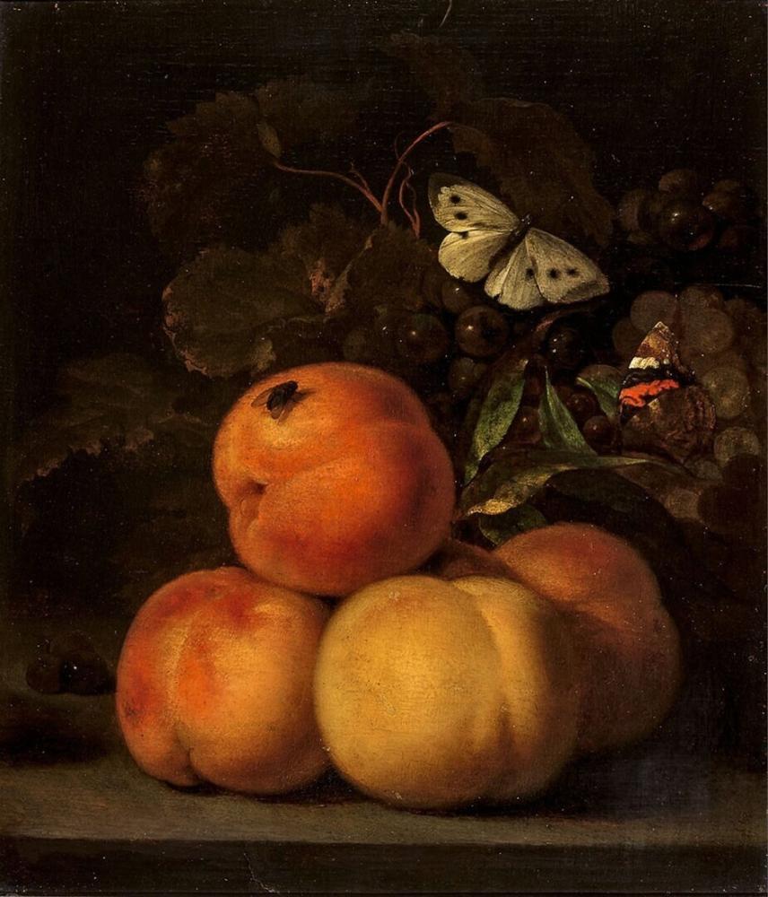 Abraham van Calraet, Şeftali ile Natürmort, Kanvas Tablo, Abraham van Calraet, kanvas tablo, canvas print sales