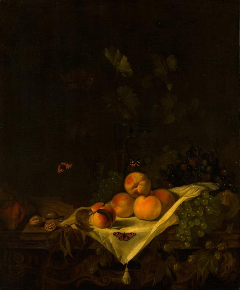 Abraham van Calraet, Şeftali ve Üzüm ile Natürmort, Kanvas Tablo, Abraham van Calraet