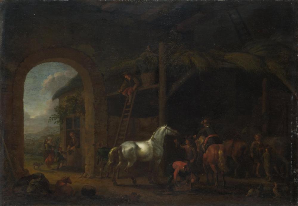 Abraham van Calraet, Ahırın İçi, Kanvas Tablo, Abraham van Calraet