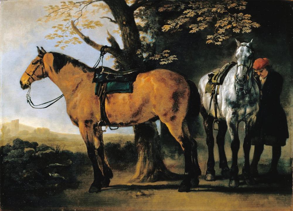 Abraham van Calraet, İki At, Kanvas Tablo, Abraham van Calraet, kanvas tablo, canvas print sales