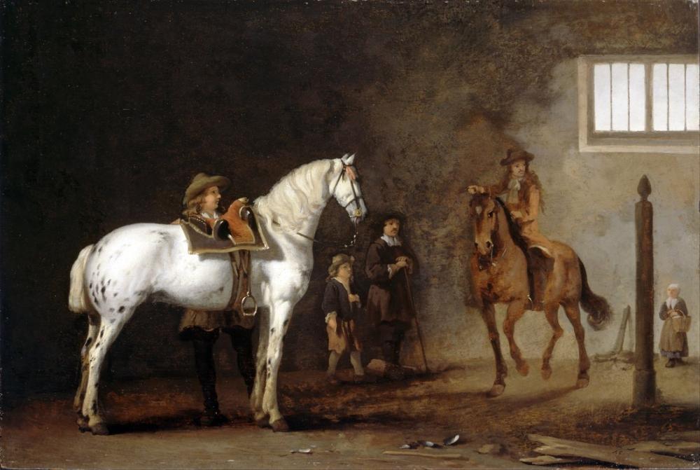 Abraham van Calraet, White Horse in a Riding School, Canvas, Abraham van Calraet, kanvas tablo, canvas print sales