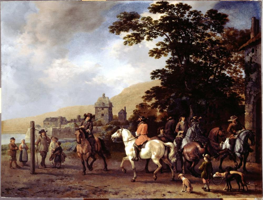 Abraham van Calraet, Açık Havada Binicilik Okulu, Kanvas Tablo, Abraham van Calraet