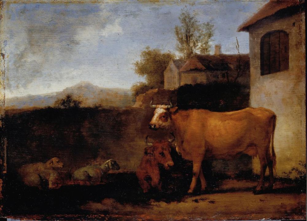 Abraham van Calraet, Cows and Sheep, Canvas, Abraham van Calraet