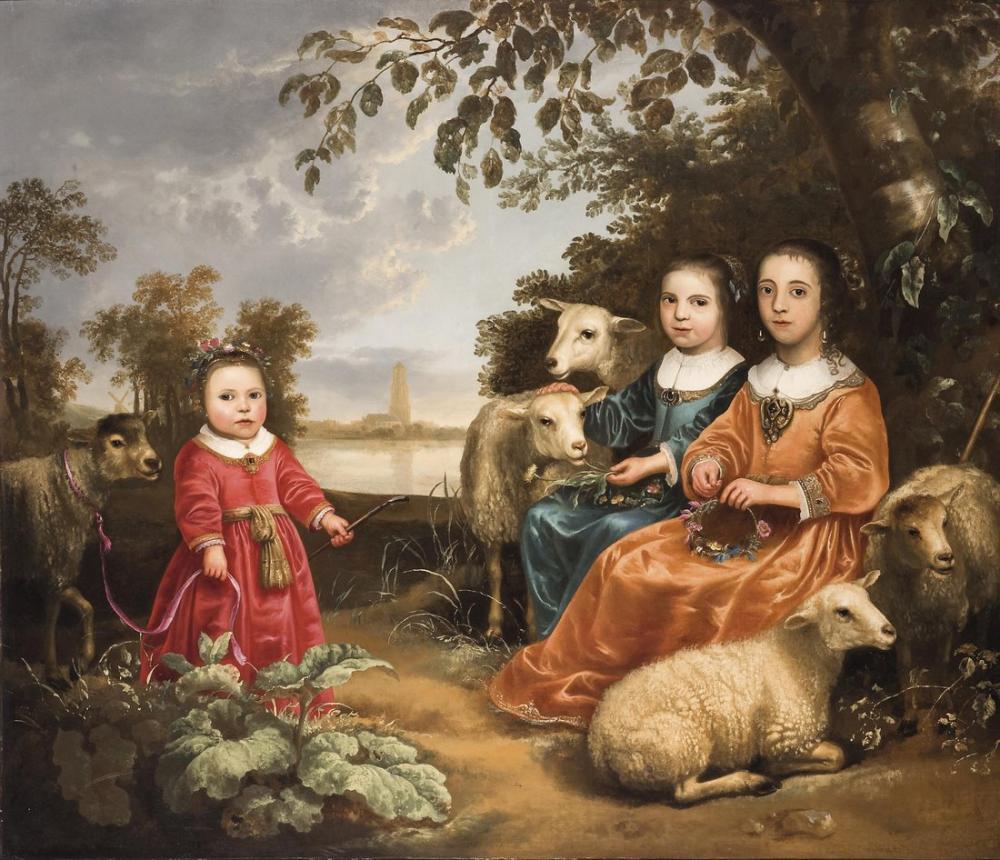 Aelbert Cuyp, Bir Manzarada Koyun ile Üç Kız, Kanvas Tablo, Aelbert Cuyp, kanvas tablo, canvas print sales