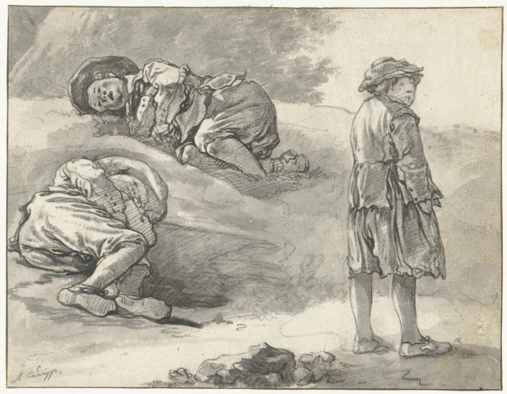 Aelbert Cuyp, Bir Çobanın Üç Çalışması, Kanvas Tablo, Aelbert Cuyp
