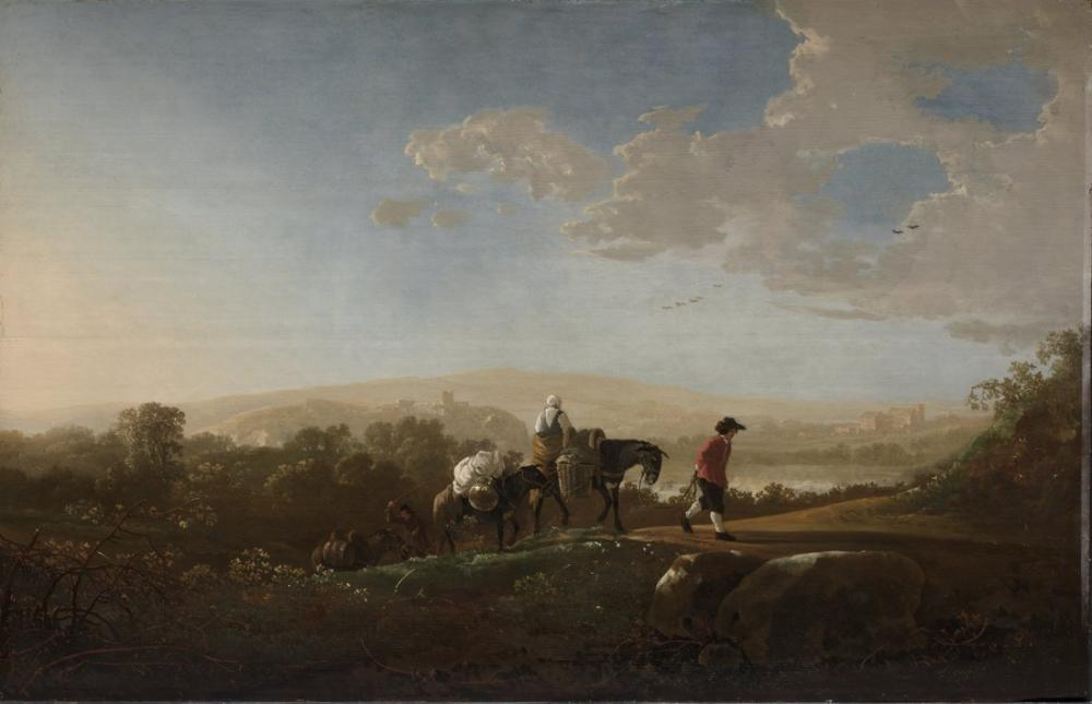 Aelbert Cuyp, Travelers in Hilly Countryside, Canvas, Aelbert Cuyp, kanvas tablo, canvas print sales