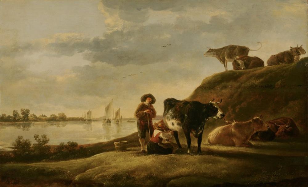 Aelbert Cuyp, Bir Nehir Kenarında Sığır, Kanvas Tablo, Aelbert Cuyp