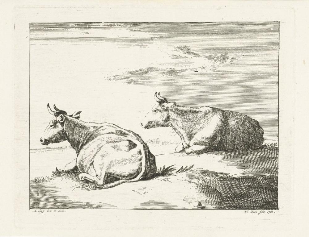 Aelbert Cuyp, Two Reclining Cows, Canvas, Aelbert Cuyp, kanvas tablo, canvas print sales