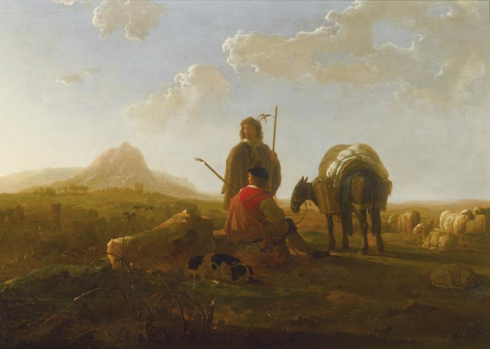 Aelbert Cuyp, Dağlık Bir Manzara İçinde İki Çoban, Kanvas Tablo, Aelbert Cuyp, kanvas tablo, canvas print sales