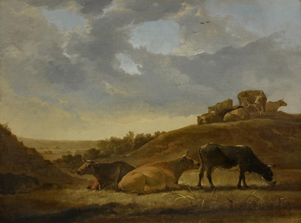 Aelbert Cuyp, Hollandalı Bir Arcadian Manzara Sığır, Kanvas Tablo, Aelbert Cuyp, kanvas tablo, canvas print sales