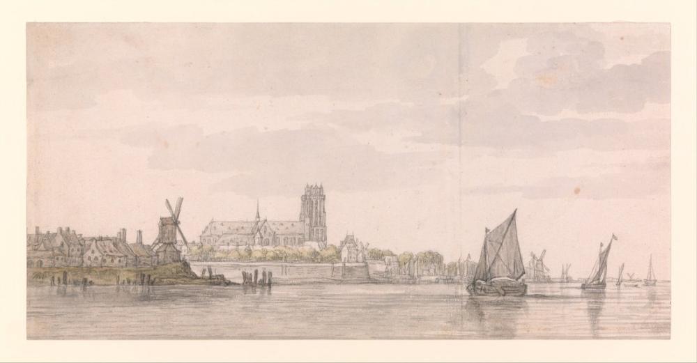 Aelbert Cuyp, Maas Nehri Dordrecht Groote Kerk Görünümü, Kanvas Tablo, Aelbert Cuyp, kanvas tablo, canvas print sales