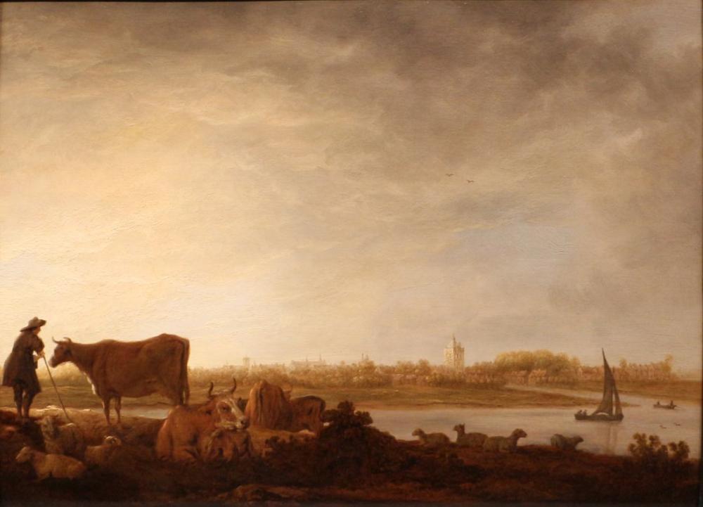 Aelbert Cuyp, Vianen Bir Nehir Kenarında Bir Çoban ve Sığır Görünümü, Kanvas Tablo, Aelbert Cuyp