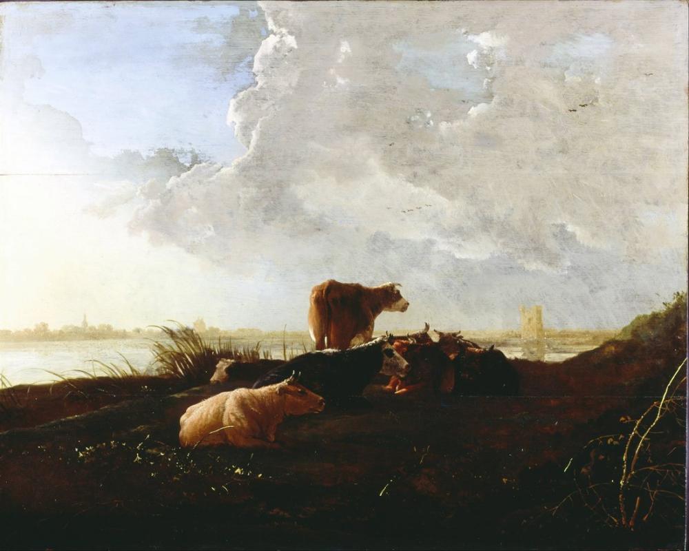Aelbert Cuyp, Bir Nehri Yakınında Sığır, Kanvas Tablo, Aelbert Cuyp, kanvas tablo, canvas print sales