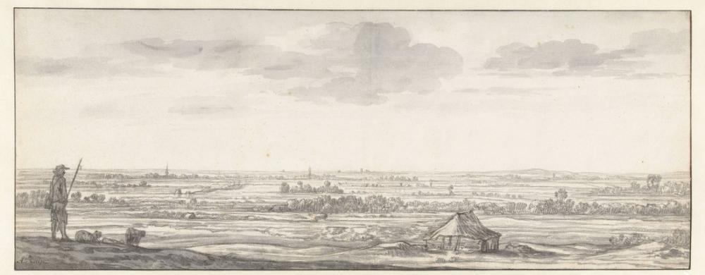 Aelbert Cuyp,  Bir Nehir Üzeinden Görünen Arazi, Kanvas Tablo, Aelbert Cuyp