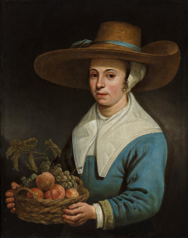Aelbert Cuyp, Büyük Hasır Şapka ve Meyve Sepeti ile Kadın, Kanvas Tablo, Aelbert Cuyp
