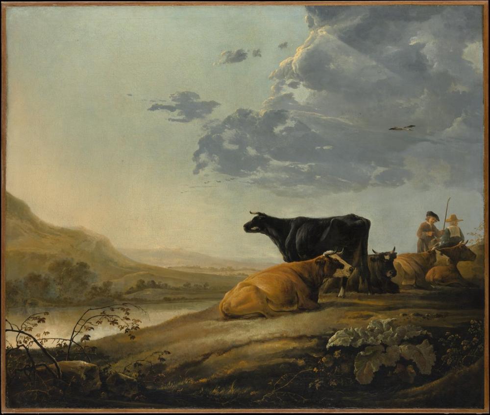 Aelbert Cuyp, İnekler ile Genç Çobanlar, Kanvas Tablo, Aelbert Cuyp
