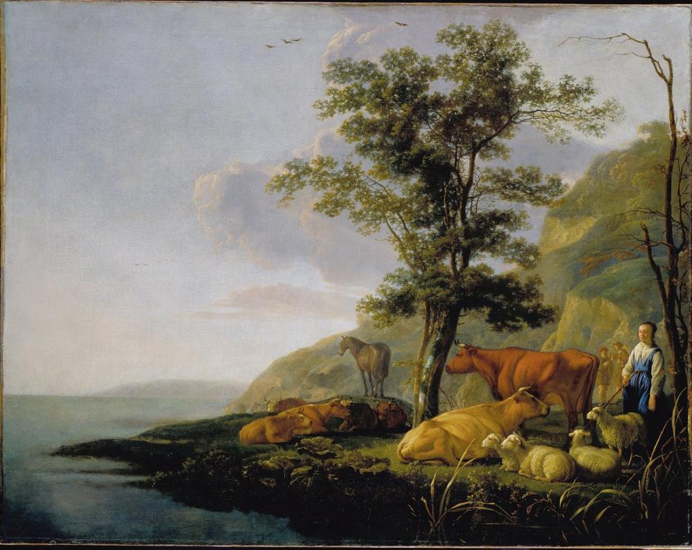 Aelbert Cuyp, Bir Nehri Yakınında Sığır, Kanvas Tablo, Aelbert Cuyp