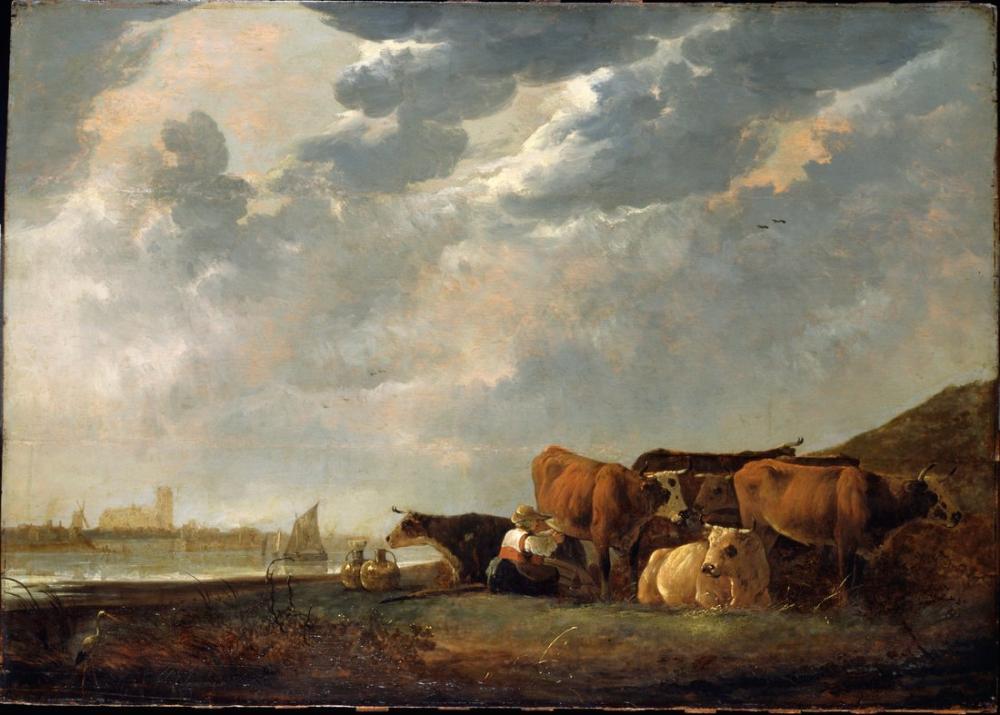 Aelbert Cuyp, Uzaktan Dordrecht ile Maas Yakınındaki Sığır, Kanvas Tablo, Aelbert Cuyp, kanvas tablo, canvas print sales