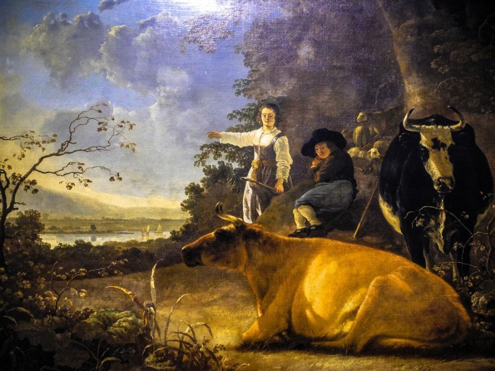 Aelbert Cuyp, Çoban ile Sığır, Kanvas Tablo, Aelbert Cuyp