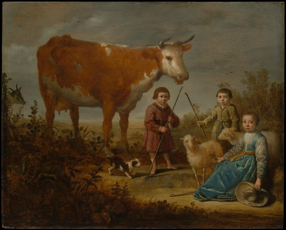 Aelbert Cuyp, Çocuklar ve Bir İnek, Kanvas Tablo, Aelbert Cuyp