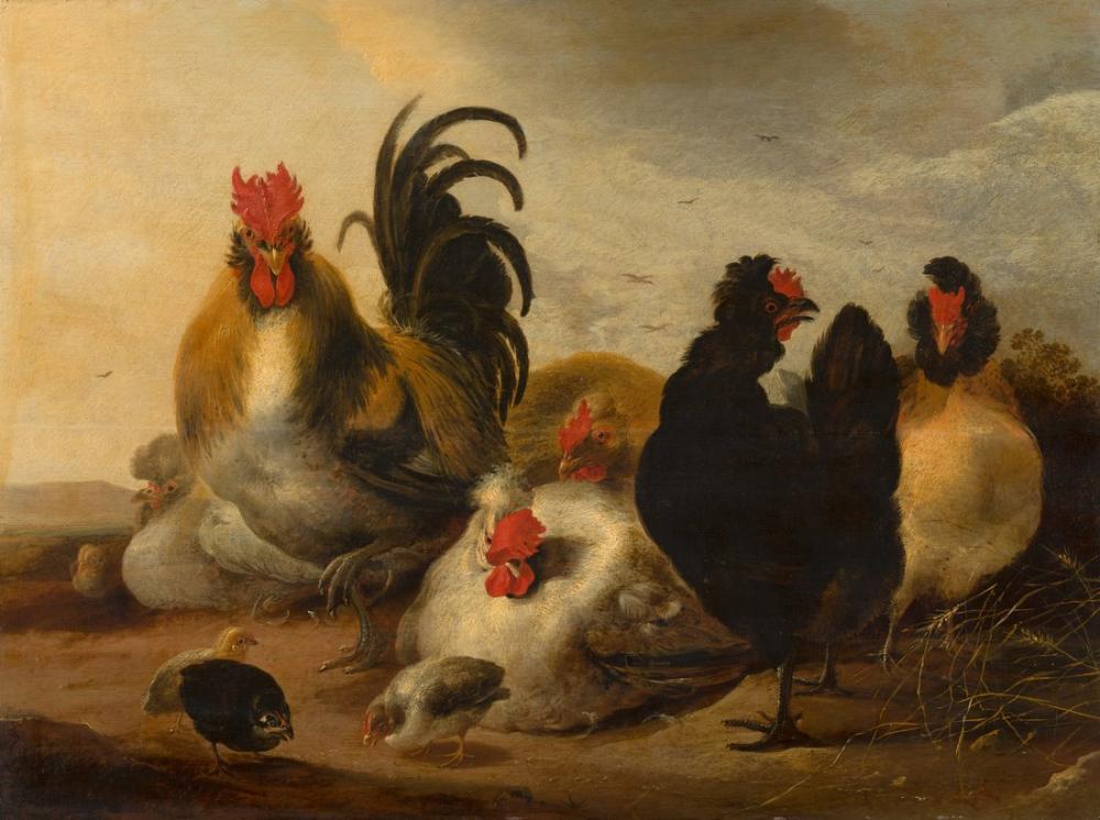 Aelbert Cuyp, Horoz ve Tavuklar Bir Manzara, Kanvas Tablo, Aelbert Cuyp