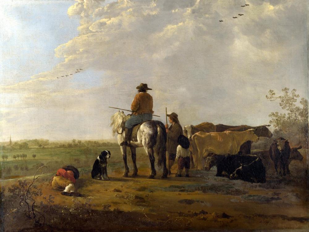 Aelbert Cuyp, A Landscape with Horseman, Canvas, Aelbert Cuyp, kanvas tablo, canvas print sales