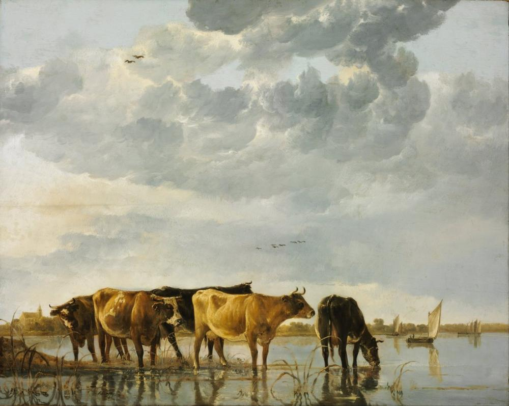 Aelbert Cuyp, Bir Nehirde İnekler, Kanvas Tablo, Aelbert Cuyp