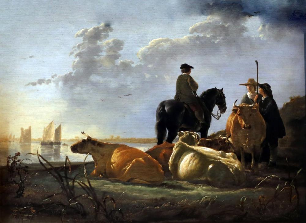 Aelbert Cuyp, Merwede Nehri Sığır ile Çiftçiler, Kanvas Tablo, Aelbert Cuyp