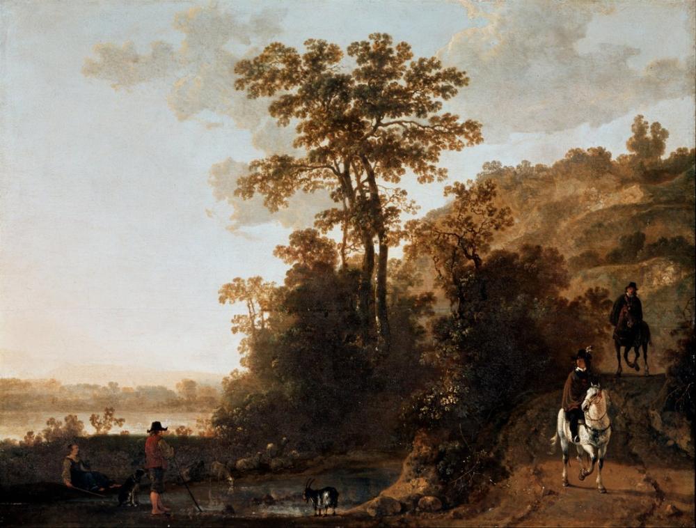 Aelbert Cuyp, Bir Nehir Yakınında Bir Akşam Yolculuk, Kanvas Tablo, Aelbert Cuyp