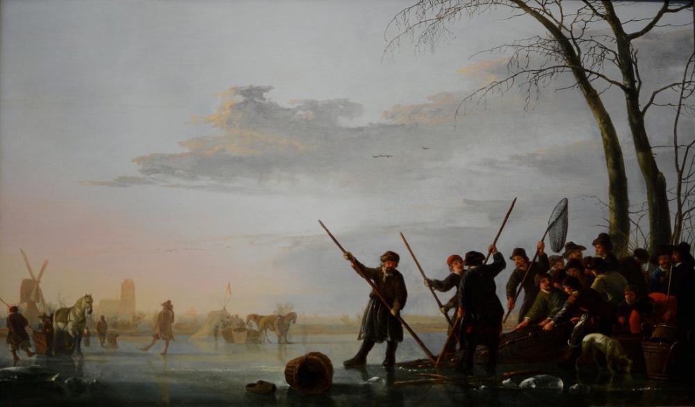 Aelbert Cuyp, Fishing Under the Ice, Canvas, Aelbert Cuyp, kanvas tablo, canvas print sales