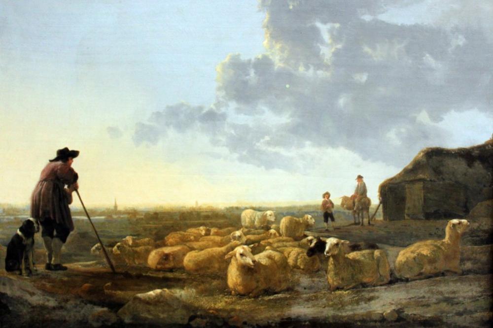 Aelbert Cuyp, Mera Städel Üzerinde Koyun Sürüsü, Kanvas Tablo, Aelbert Cuyp