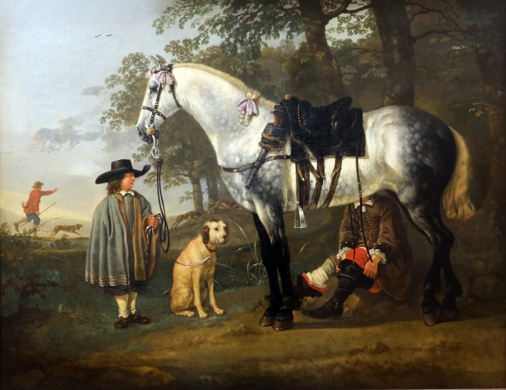 Aelbert Cuyp, Bir Manzara İçinde Gri At, Kanvas Tablo, Aelbert Cuyp