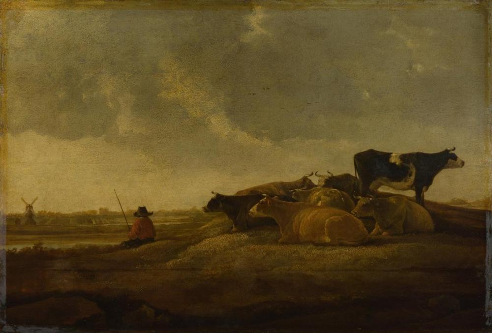 Aelbert Cuyp, Bir Nehir Kenarında Yedi İnek ile Çoban, Kanvas Tablo, Aelbert Cuyp