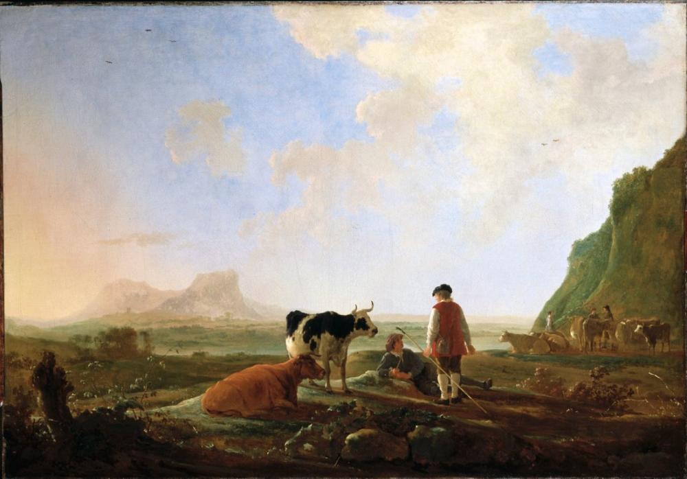 Aelbert Cuyp, Herdsmen with Cows, Canvas, Aelbert Cuyp, kanvas tablo, canvas print sales