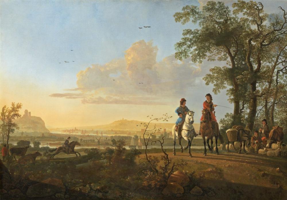 Aelbert Cuyp, Atlılar ve Sığır Sürüsü, Kanvas Tablo, Aelbert Cuyp