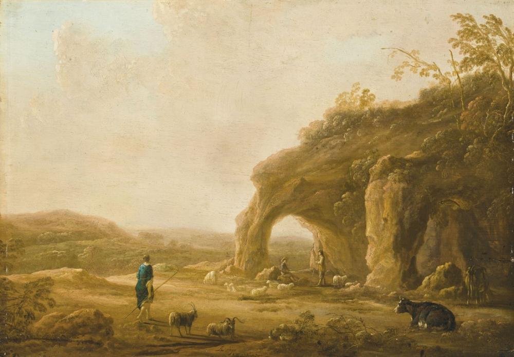 Aelbert Cuyp, An Italianate Landscape with Shepherds by A Grotto, Canvas, Aelbert Cuyp, kanvas tablo, canvas print sales