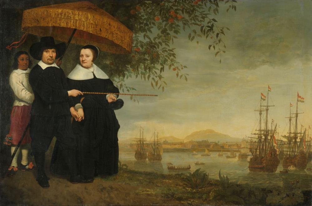 Aelbert Cuyp, Jacob Mathiesen ve Karısı Arka Planda Batavia Liman Ağzından Dönüş Filosu, Kanvas Tablo, Aelbert Cuyp